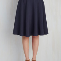 Just This Sway Midi Skirt in Navy | Mod Retro Vintage Skirts | ModCloth.com