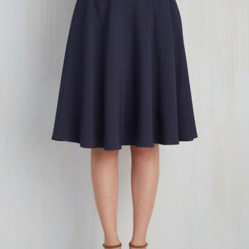 Just This Sway Midi Skirt in Navy   Mod Retro Vintage Skirts   ModCloth.com