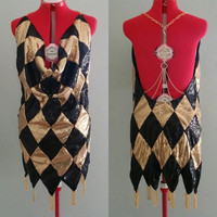 READY TO SHIP Medium Harley Quinn Inspired Black And Gold Diamond Sequins Club Dress