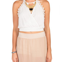 Crochet Trim Halter Tie Back Crop Tank