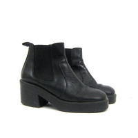Black Leather Boots Ankle Booties Pippi 90s Grunge Side Panel Pull On Boots Chelsea Boots Hipster Shoes Vintage Women's 8 38 39