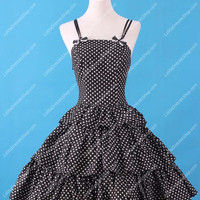 Sweet Black and White Neck Square Ruffles Lolita Dress