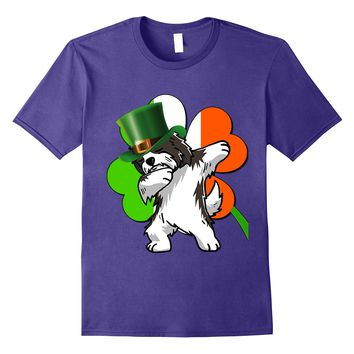Havanese Dog Dabbing - Irish-Flag shamrock Funny Tshirt