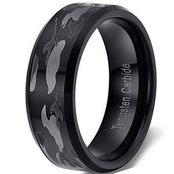 CERTIFIED 8mm Black Camouflage Hunting  Tungsten Carbide Ring Camo Polished Beveled Edge Wedding Engagement Band