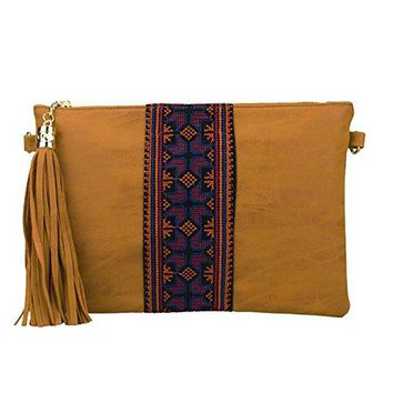 Retro Ethnic Embroidered Crossbody Hobo Bag Fringe Wristlet Purse Vintage Gypsy Tassel HandbagSibalasi