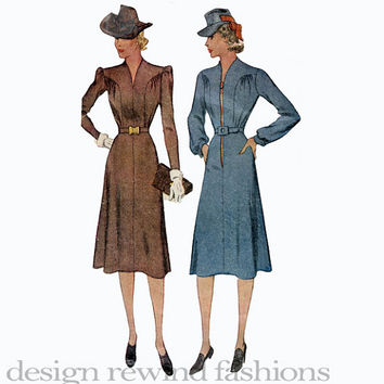 1930s Day Evening Cocktail Fit & Flare Long, Short Sleeves DRESS V-Neck Front Zipper Closing McCall 3464 Bust 44 Vintage Sewing Patterns