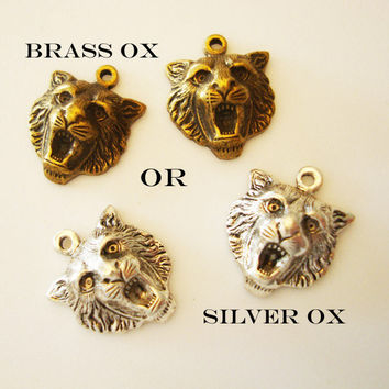 2 Tiger Charms, Great Necklace Supply, Ear ring Components, Brass Metal, Choice Brass ox OR Silver ox