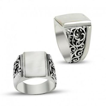 Filigree mother of pearl gemstone 925k sterling silver mens ring unique turkish jewelry handcrafted