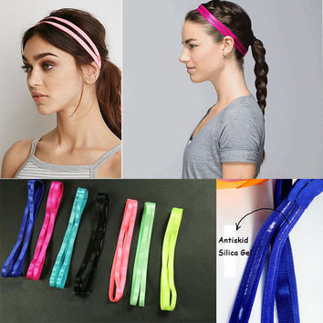 10 Candy Colors Fashion Anti-Slip Double Bands Sports Elastic Headband Women Girl Yoga Running Casual Hairbands