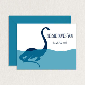 Nessie Loves You Loch Ness A2 Printable Greeting Card / Relationship Card / Friendship Card / Nerdy Printable