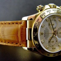 Rolex Cosmograph Daytona Mother of Pearl Diamond Brown Leather Strap Gold 116518
