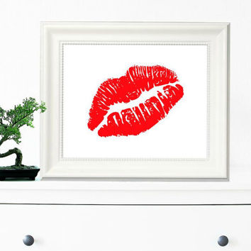 Lips Wall Art, Modern Home Decor, Red Lips Poster, Wall Decor, Shabby Chic, Teen Gift Ideas, Art And Collectibles, Contemporary Art - PT0057