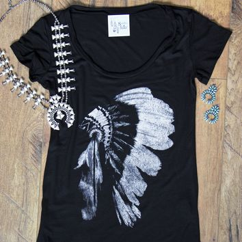 Black Headdress Graphic Tee Shirt