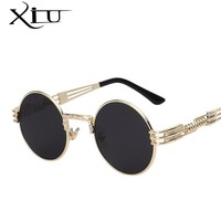 Luxury Metal Sunglasses Men Round Sunglass Steampunk Coating Glasses Vintage Retro Outdoor Lentes Oculos of Male Sun