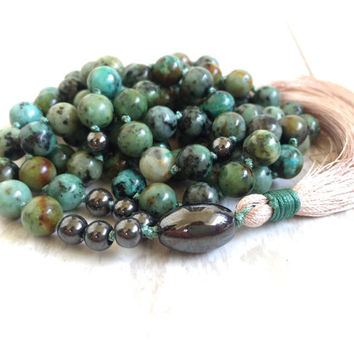 African Turquoise Mala Beads, 108 Bead Tassel Mala Necklace, Turquoise Mala, Yoga Jewelry, Gemstone Mala Beads