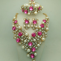 Gold Plated Rhinestones Crystal Bridal Accessories