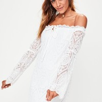 Missguided - White Lace Tie Detail Shift Dress