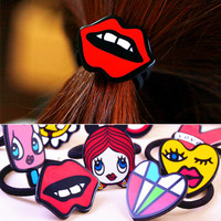 Korean Cartoon Princess10 piece/lot Cute Letter/Animal  Elastic Hair Rope for Women Hairbands Hair Accessories  Free Shipping