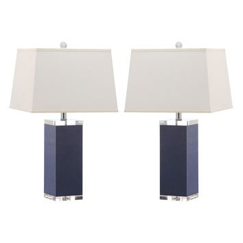 Safavieh Leather Column Table Lamp Set of 2 - Silver