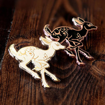 Nightfall Fawn Deer Enamel Lapel Pin Badge / Artist Series pin by Erica Williams / Halloween Ghost Cute Spooky Dead Animal Friend Forest