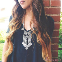 Gypsy Bohemian Boho Jewelry Antique Silver Tassels Long Carving Coins Necklace