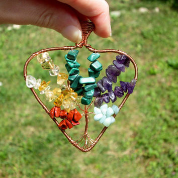 multicolor tree of life pendant necklace,heart tree of life pendant,copper pendant,tree of life jewelry,multicolor pendant,egytian necklace