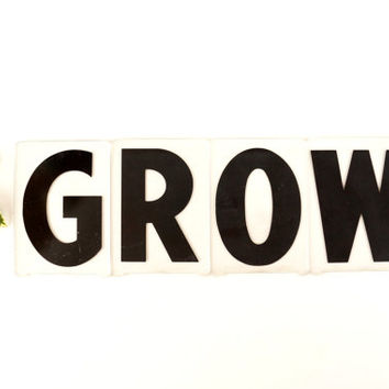 "Vintage Sign Letters ""GROW"" Black on Clear Acrylic (4 inches tall) - Home Decor, Altered Art and more"