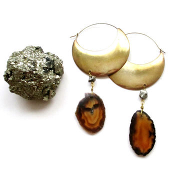 Pyrite & Agate Geode Hoop Statement Earrings.