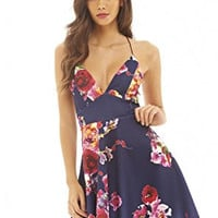 Navy Floral Print V-Neck Crisscross Skater Dress