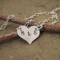 Personalized heart necklace with His and Hers by filigreepheasant