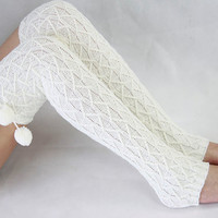 White Knit knee Socks Boot Cotton Thigh High Socks Warm Knitted Womens Leg Warmers 17122002-A