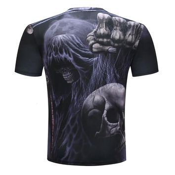 Harajuku Printed T shirts Men 3D T-shirts Skull Funny Costume Short Sleeve Summer Tshirt Male Round Neck Fashion Quality Top Tee