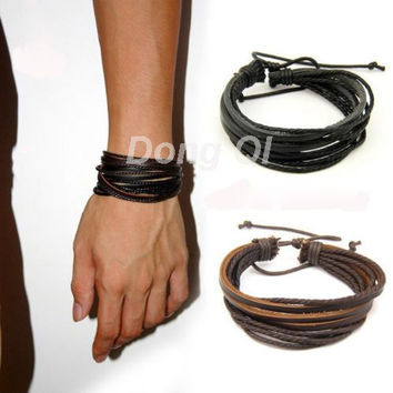 Mens Or Womens Wrap Multilayer Genuine Leather Bracelet with Braided rope Fashion Jewelry