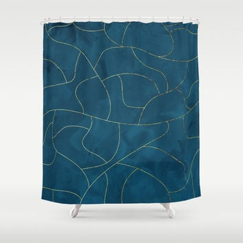 Textured blue & gold Shower Curtain by vivigonzalezart