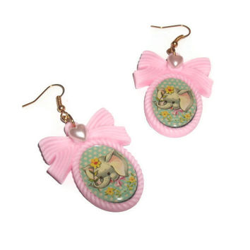 Elephant Earrings, Pastel Pink Cameo Vintage Style Illustration Retro Baby Animal