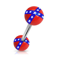 Rebel Flag Tongue Ring Piercing Barbell