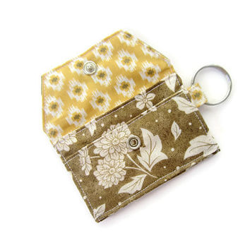 Mini key chain wallet/ simple ID Key chain pouch / keychain coin purse / Business card holder / brown floral and rhombus pattern