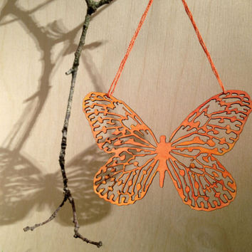 Painted Wood Ornament - Laser Cut Red Butterfly