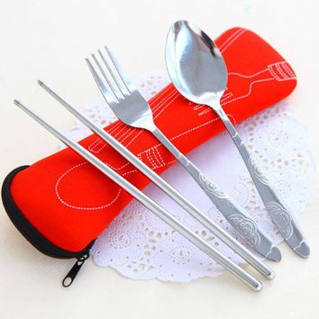 1 Set Portable Stainless Steel Tableware with Bag Camping Picnic Cutlery Sets Home Family Outdoor Travel Dinnerware Kits 4 Color