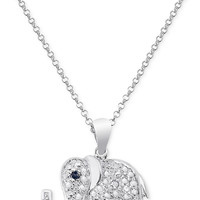 Victoria Townsend Black Diamond Accent Elephant Necklace in Sterling Silver