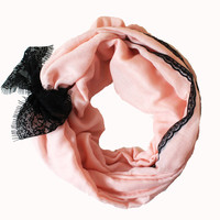 pink lace scarf,infinity scarf, scarf, scarves, long scarf, loop scarf, gift