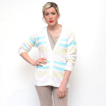 vintage white PASTEL striped sweater // 80s acrylic GRANDPA sweater // baby blue pink yellow stripes cardigan // unisex hipster grunge nerd