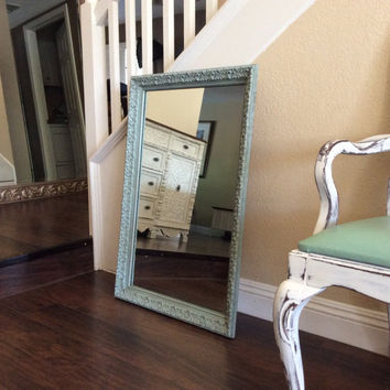 ORNATE BLUE MIRROR Vintage Mirror Wall Mirror Cottage Chic Mirror Shabby Chic Wall Mirror Furniture Nursery Mirror French Provincial Decor