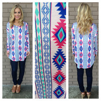 Mint Three's Company Aztec Print Tunic Top