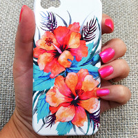 ORANGE HIBISCUS - Tropical Flower Phone Case  iphone 5/ 5S / 4/ 4S Samsung 3/4