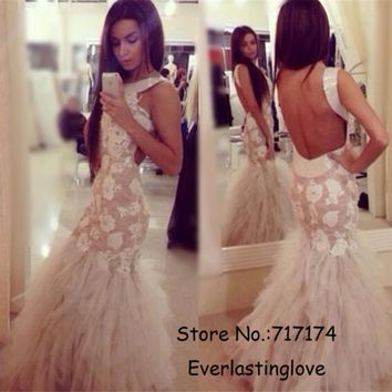 Hatler Neckline Applique leaf Lace Mermaid Prom Dresses Ruffled Tulle Open Back Evening Gowns women prom dress