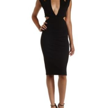 Black Halter Cut-Out Bodycon Midi Dress by Charlotte Russe