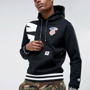 AAPE By A Bathing Ape Hoodie With Large Panel Logo at asos.com