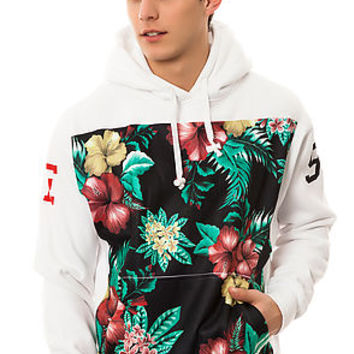 The Floral Varsity Hoody in White