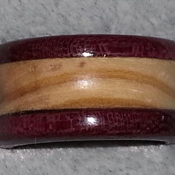 Wood Ring, Olive Wood Bordered with Purple Heart with Center Groove
